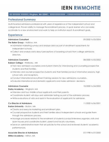 Admissions Counselor resume template Massachusetts