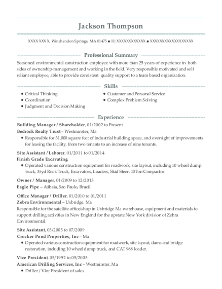 Building Manager resume example Massachusetts
