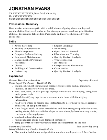 General Warehouse Associate resume template Massachusetts