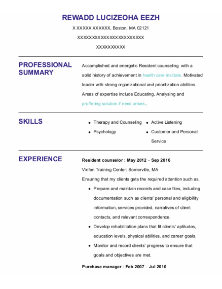 Resident Counselor resume sample Massachusetts