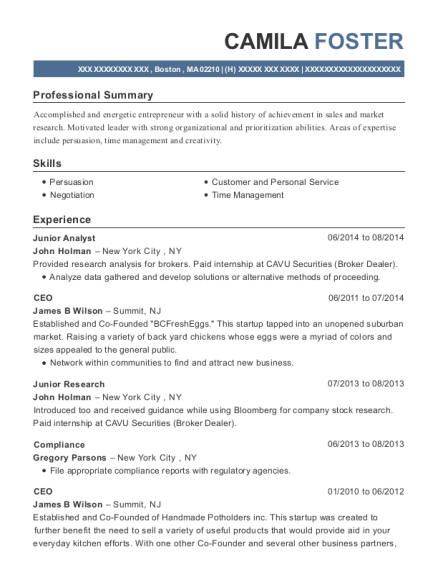 Junior Analyst resume template Massachusetts