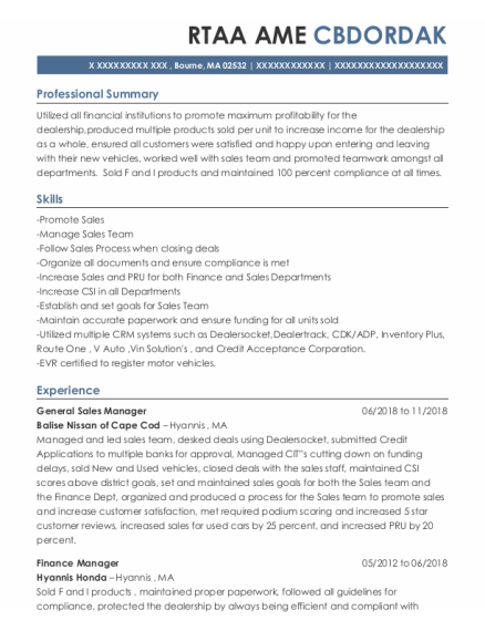 General Sales Manager resume example Massachusetts