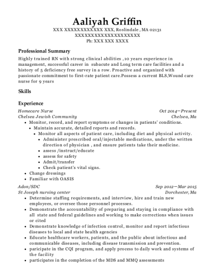 Homecare Nurse resume sample Massachusetts
