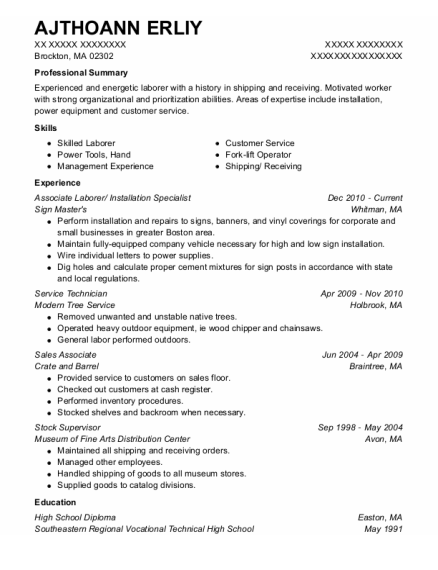 Installation Specialist resume format Massachusetts