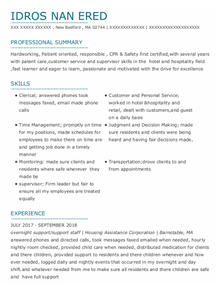 Overnight Support Manager resume example Massachusetts