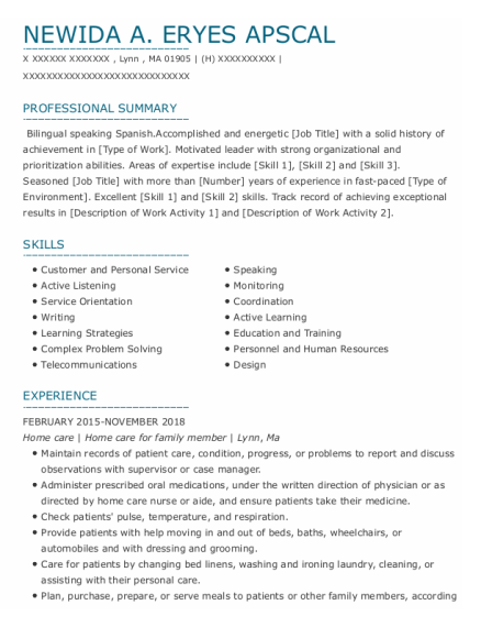 Home Care resume format Massachusetts