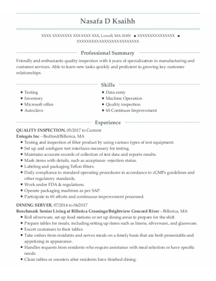 Quality Inspection resume format Massachusetts