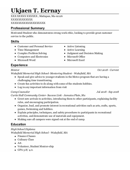 Mentor resume format Massachusetts