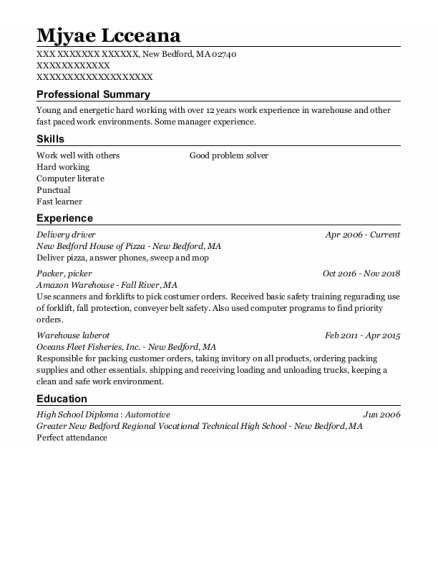 Delivery Driver resume example Massachusetts