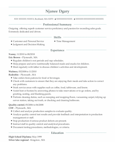 nanny resume example Massachusetts