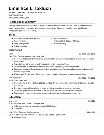 Cook resume format Massachusetts