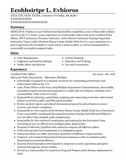 Certified Police Officer resume template Michigan