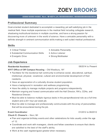 Residential Assistant resume format Michigan