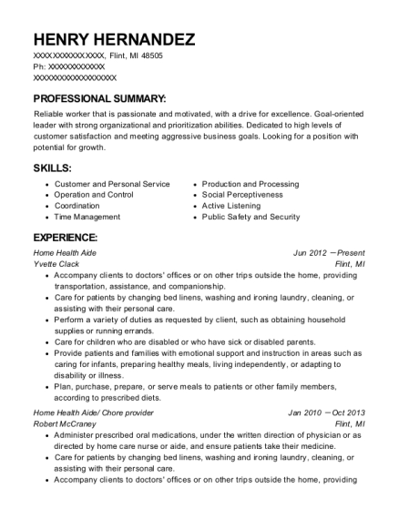 Home Health Aide resume format Michigan