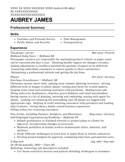 Newspaper carrier resume template Michigan