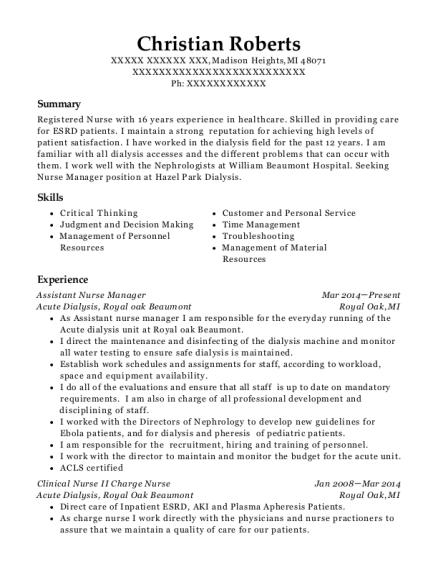Assistant Nurse Manager resume format Michigan