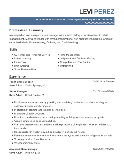 Front End Manager resume sample Michigan