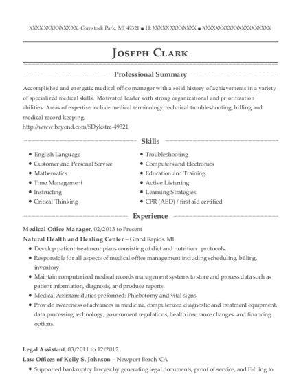 Medical Office Manager resume example Michigan
