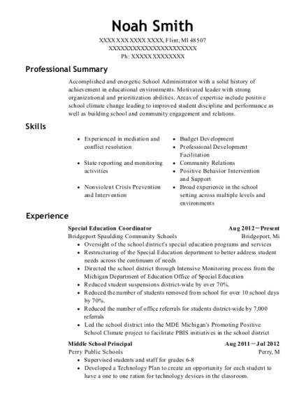 Special Education Coordinator resume sample Michigan