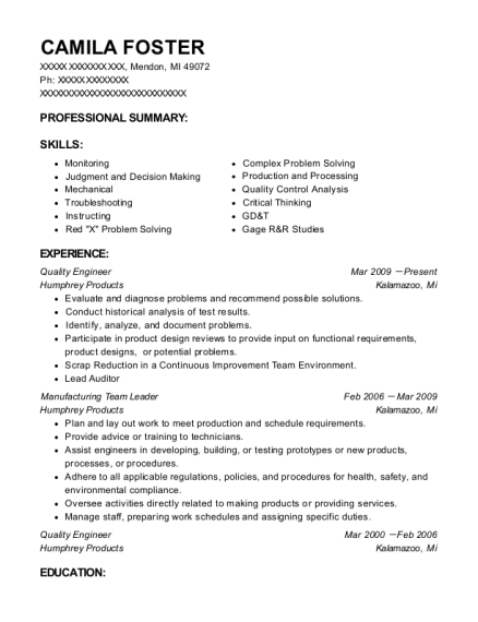 Quality Engineer resume format Michigan