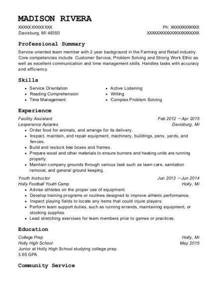 Facility Assistant resume template Michigan