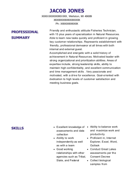 Great Lakes Fisheries Technician resume example Michigan