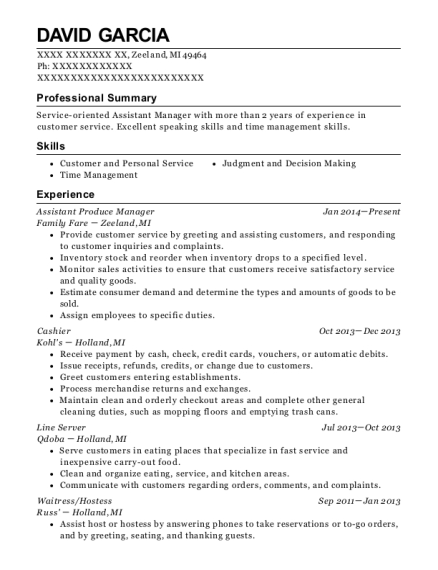 Assistant Produce Manager resume sample Michigan