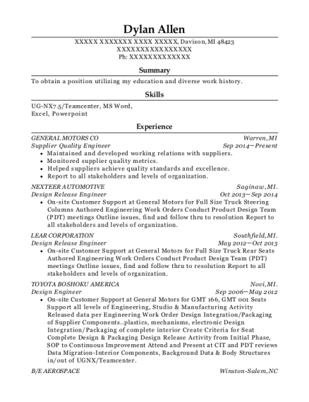 Supplier Quality Engineer resume template Michigan