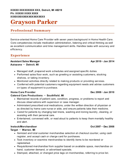 Assistant Sales Manager resume format Michigan
