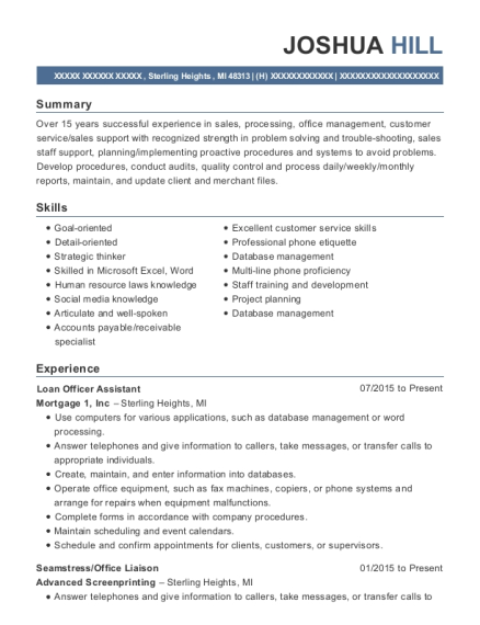 Loan Officer Assistant resume format Michigan