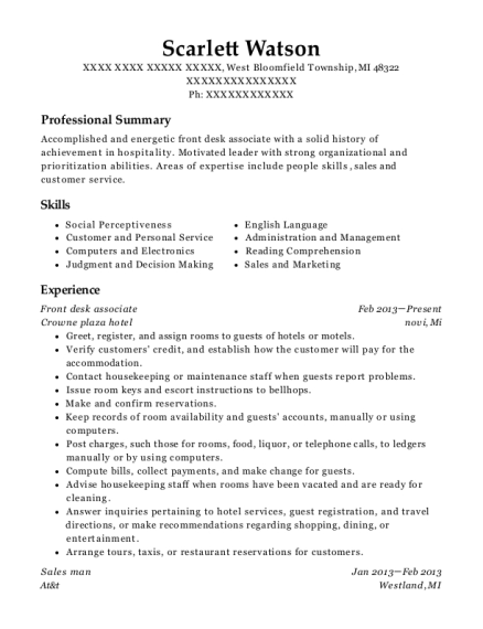 Front Desk Associate resume template Michigan