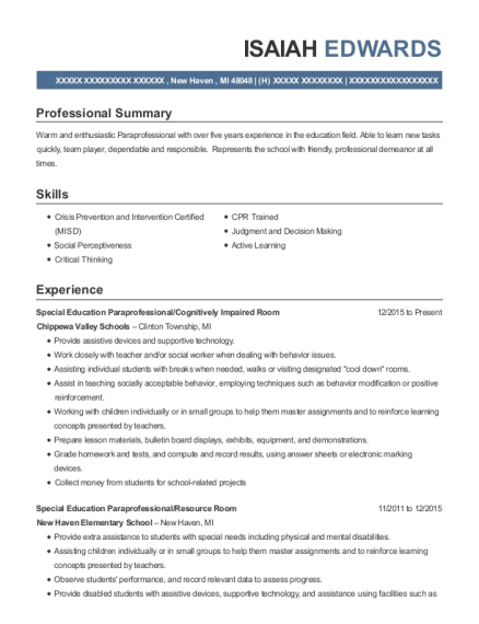Special Education Paraprofessional resume example Michigan