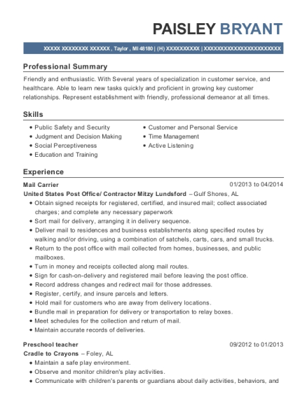Mail Carrier resume example Michigan