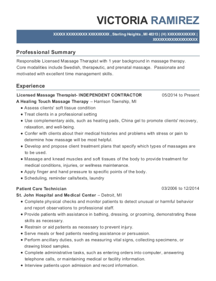 Licensed Massage Therapist INDEPENDENT CONTRACTOR resume format Michigan
