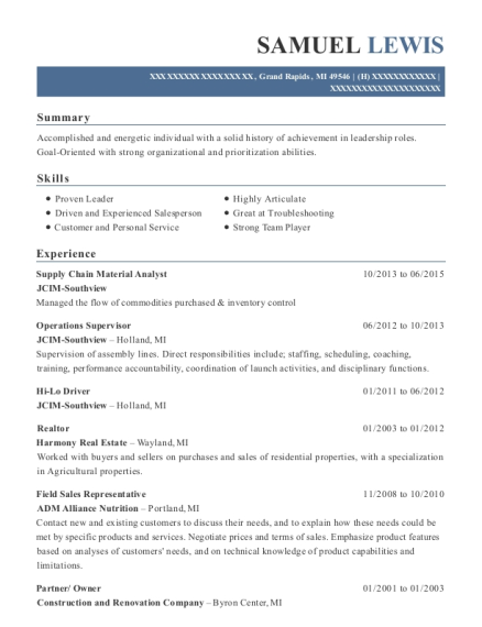 Supply Chain Material Analyst resume example Michigan