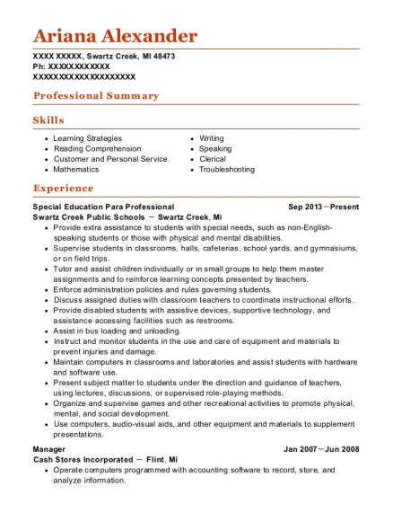 Special Education Para Professional resume format Michigan