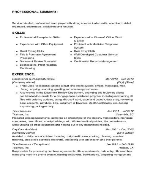Receptionist & Document Review resume sample Michigan