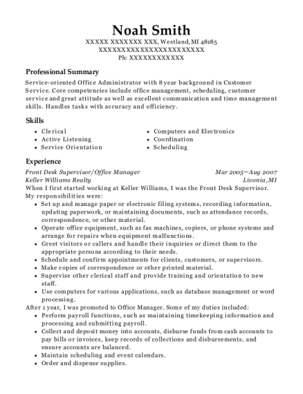 Front Desk Supervisor resume format Michigan