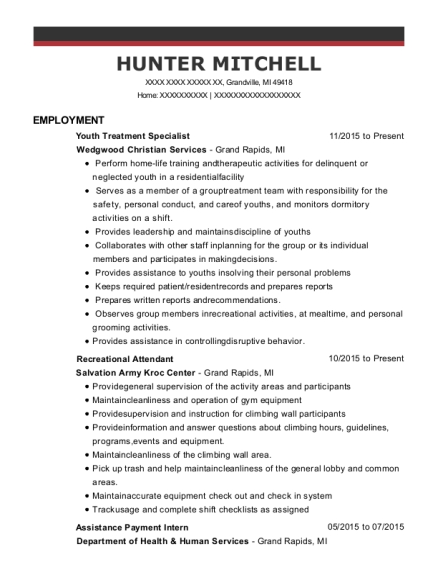 Youth Treatment Specialist resume format Michigan