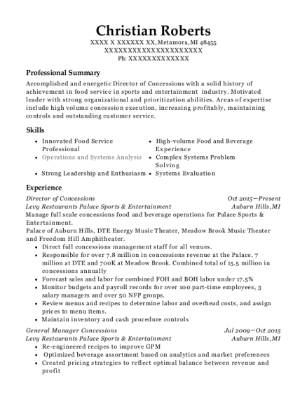 Director of Concessions resume example Michigan