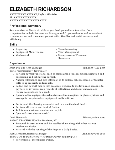 Mechanic and Asst Manager resume sample Michigan