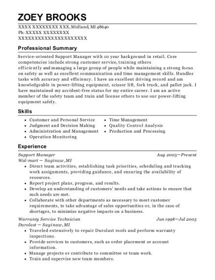 Support Manager resume example Michigan