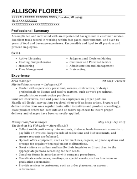 Area Manager resume format Michigan