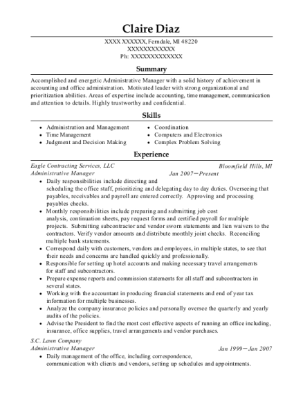 Administrative Manager resume template Michigan
