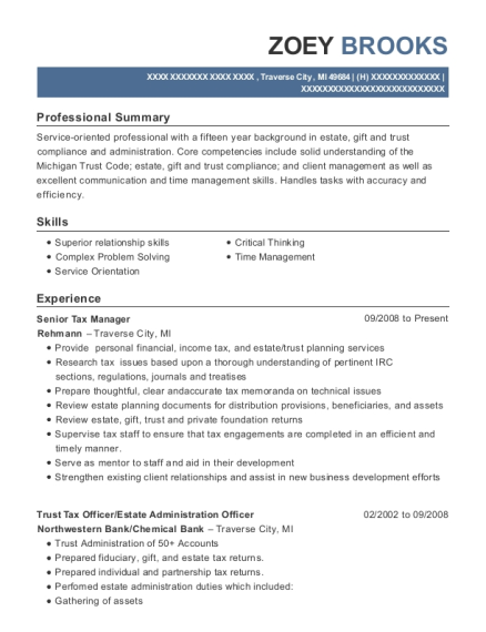 quick refund tax manager resume sample