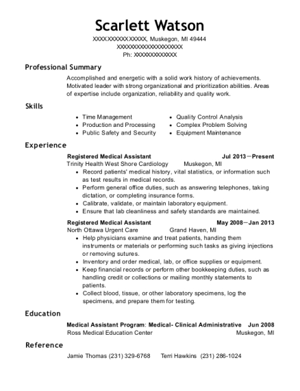Registered Medical Assistant resume template Michigan