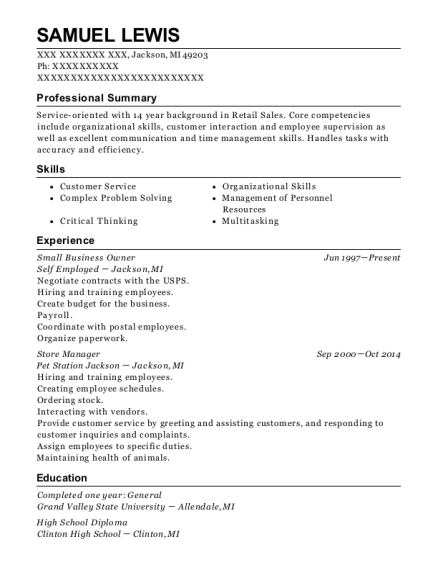 Small Business Owner resume format Michigan