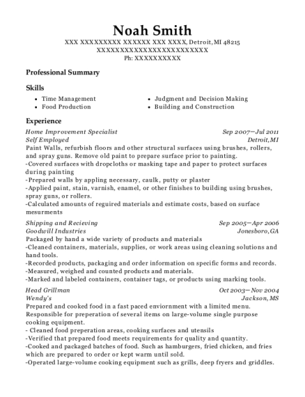 Home Improvement Specialist resume example Michigan
