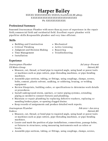 Journeyman Plumber resume sample Michigan