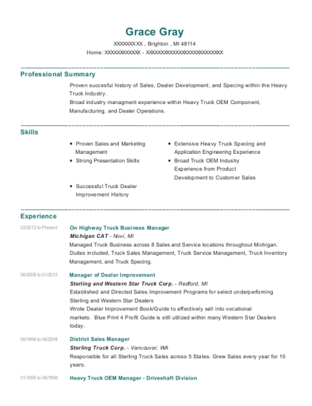 On Highway Truck Business Manager resume sample Michigan